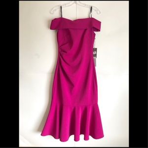 Vince Camuto Fuchsia Off The Shoulder Dress Size 4